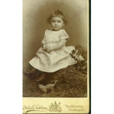 CDV. Little Girl With Cat Toy.
