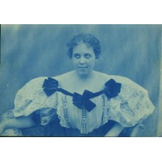 Cyanotype. Lady Wearing Fancy Blouse