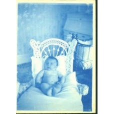 Cyanotype. Naked Baby In A Wicker Seat