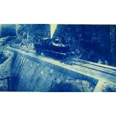 Cyanotype. Eng. Engine On Big Land Fill, Jamaica Ry. Mo