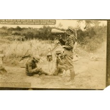 RPPC. World War I In A Field Of Gas Our Boys Direct The Artillery Fire.