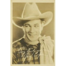 SILENT MOVIE STARS FAN PORTRAITS .(Over 30)  Cooper,Gary   As A Cowboy.  Silent Movie Star. Facsimile Signature.  Silver Print 6 1/2 X 8 1/2  with some silvering