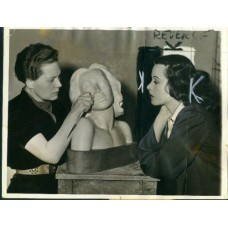 News Photograph. Associated Press. Hedy Lamarr & Sculptress.