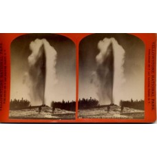 Haynes, Frank J. Stereoview   Old Faithful Geyser During Eruption