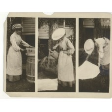 Schenk, Charles  Women Gardening. Three Photographs On One Sheet