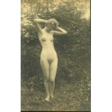 Nude. Nude In The Woods.   7 X 11  inch silver print.  Circa 1910.