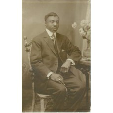 Studio. Murdock Studio, Philadelphia.  Seated African American Man.  RP PC