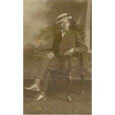 Studi.o The Central  Studio, Norfolk, VA.  Seated African American Man Wearing A Hat.  RP PC