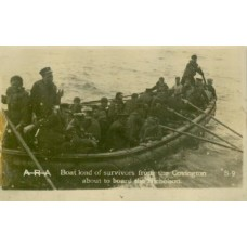 Covington Survivors In Lifeboat After Being Torpedoed. RP PC.