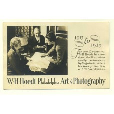 Photographer's Ad. W.H. Hoedt. Philadelphia.  RP PC