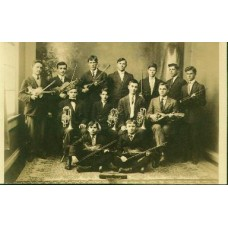 RPPC. 13 Young Men Holding Musical Instruments