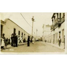 RPPC. Street Scene. Sailors, Police, Natives. Lima. Peru
