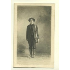 RPPC. Man With Pouch and Boots