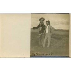 RPPC Man and Scarecrow.  Surreal . Circa  1908.