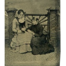 Tintype. Woman Writing & Woman Watching