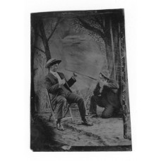 Tintype. Man Pointing A Rifle At Another Man