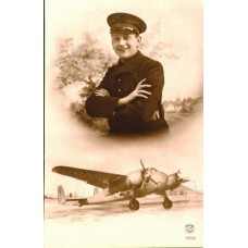 French Aviator Smiling and His  Twin Engine  Plane