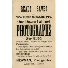Cabinet Card. Newman.  Photographer's Broadside For Cabinet Cards