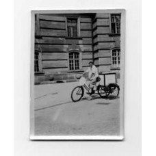 Snapshot, German . 1932.  Boy On Bicycle Wagon. Berlin.